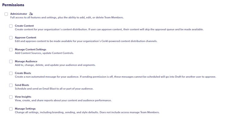 A screenshot of Cerkl Team Member Permissions