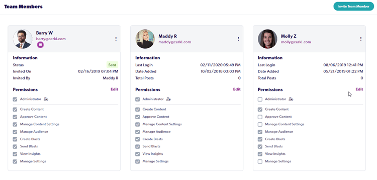 Screenshot of Cerkl's new admin permissions. Shows two Admins and one Team Member